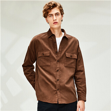 Corduroy cotton dropped-shoulder shirt