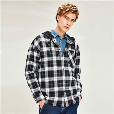 Flannel plaid hooded shirt