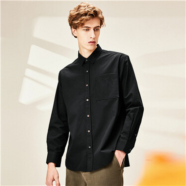 Single patch pocket cargo casual shirt