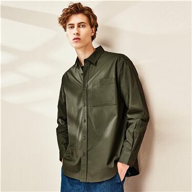 单贴袋工装纯棉长袖休闲衬衫