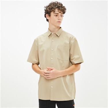 Cotton cargo pockets short-sleeve shirt