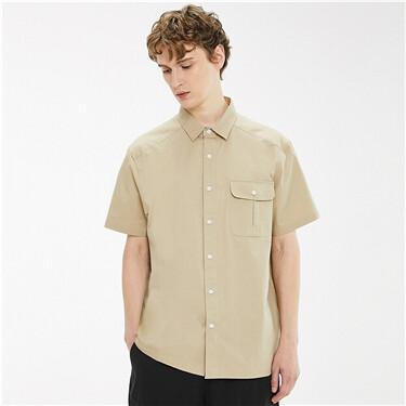 纯棉宽松工装口袋短袖休闲衬衫