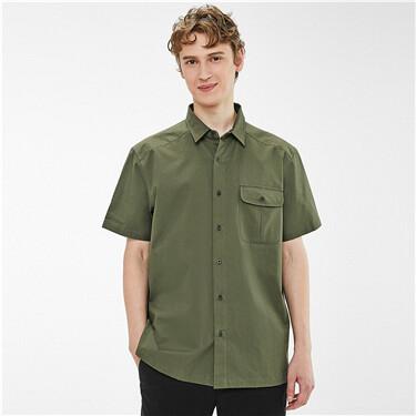 Loose cargo pockets short-sleeve shirt
