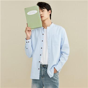 Oxford stand collar long-sleeve shirt