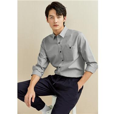 纯棉工装口袋长袖休闲衬衫