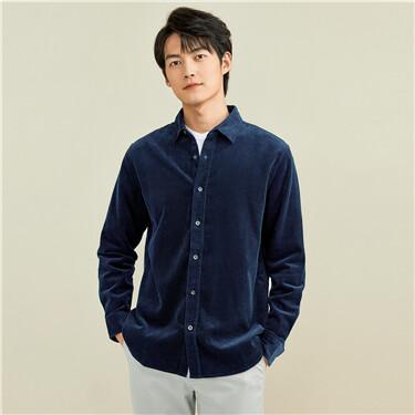 Corduroy solid color long-sleeve shirt