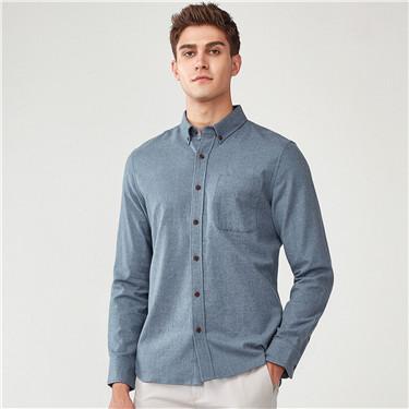 法兰绒纯棉长袖休闲衬衫