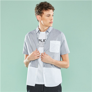 Contrast-colored oxford cotton shirt