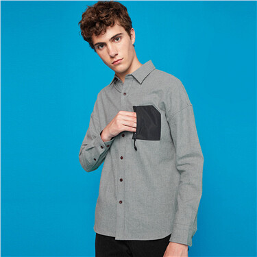 Flannel patch pockets with zip long-sleeve shirt