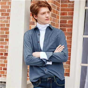 厚实法拉绒纯棉修身长袖衬衫