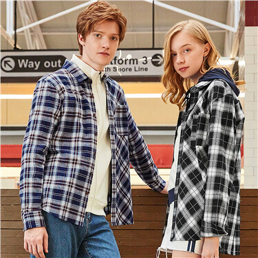 Flannel asymmetric plaid long-sleeve shirt