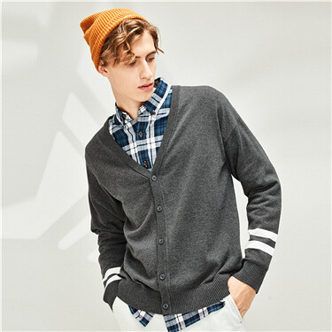 Combed cotton contrast cardigan