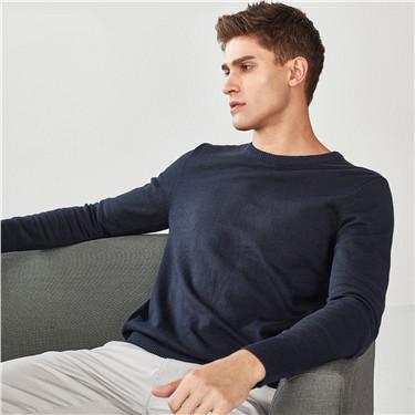 男裝基本款素色圓領針織衫