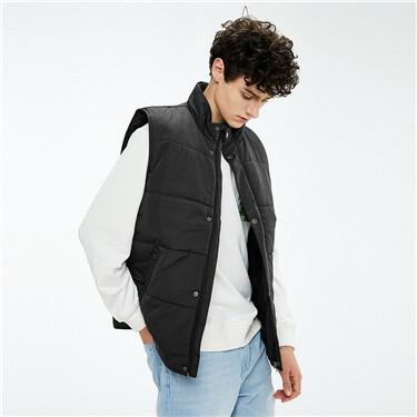 Plain stand collar vest