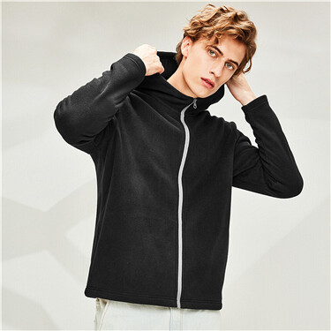 Polar fleece plain hooded jacket