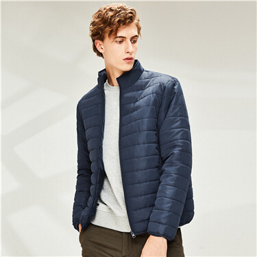 Plain stand collar multi-pocket jacket