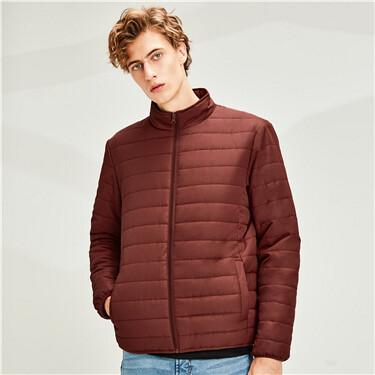 Plain stand collar multi-pocket jacket
