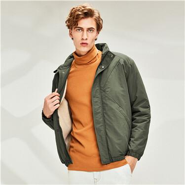Berber fleece-lined stand collar jacket
