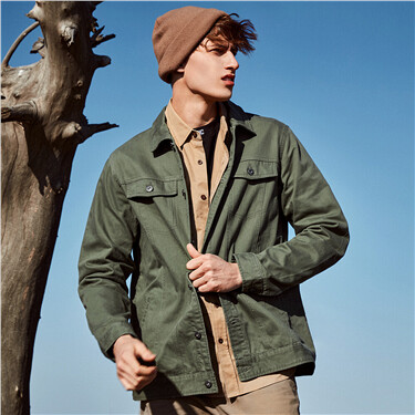 Cotton patch pockets cargo jacket
