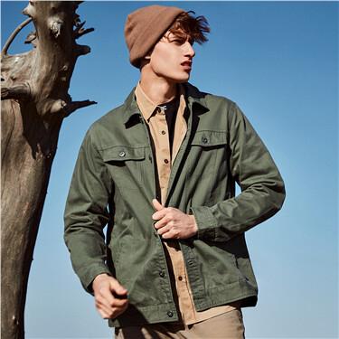 纯棉立体贴袋工装夹克外套