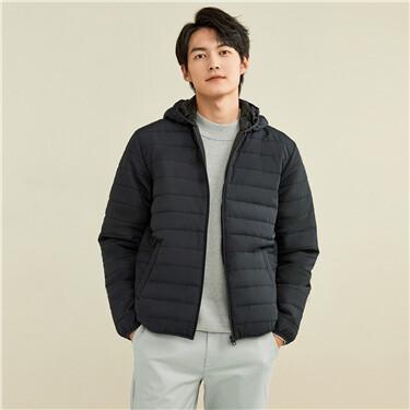 Solid color multi-pocket hooded coat