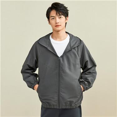 Peach-skin raglan sleeves hooded jacket