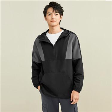 Peach-skin contrast hooded jacket