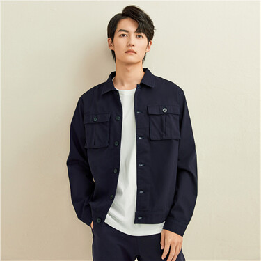 Cargo flap pockets turn-down collar jacket