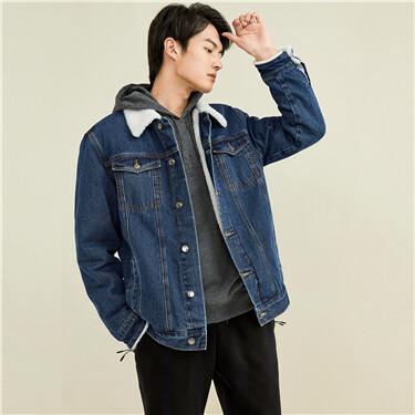 Berber polyester fleece collar denim jacket
