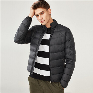 Machine-washable stand collar down jacket