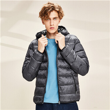 Machine-washable lightweight hooded down jacket