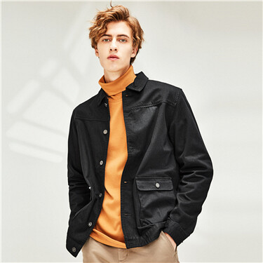 Flap pockets long-sleeve cargo jacket