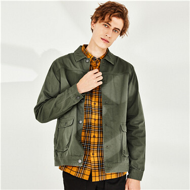 Patch pockets cotton cargo jacket