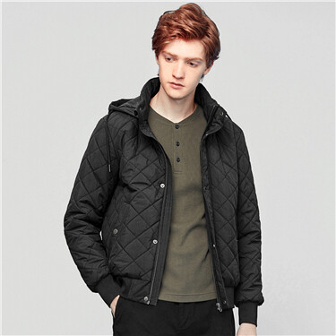 Argyle quilted hooded bomber jacket