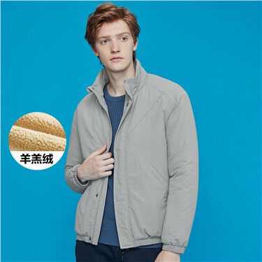Solid stand collar long-sleeve jacket