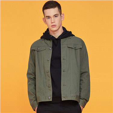 3D flap pockets cargo long-sleeve jacket