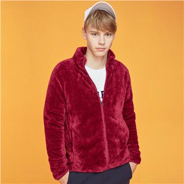 Coral velvet stand collar coat