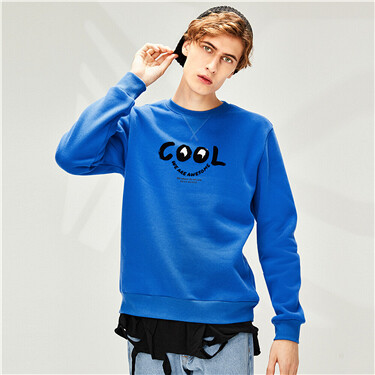 Printed Fleece-lined Crew Neck Sweatshirt