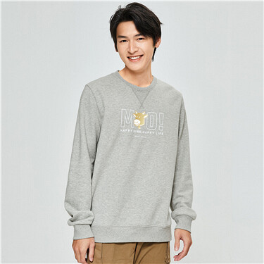 Printed fleece-lined crewneck sweatshirt