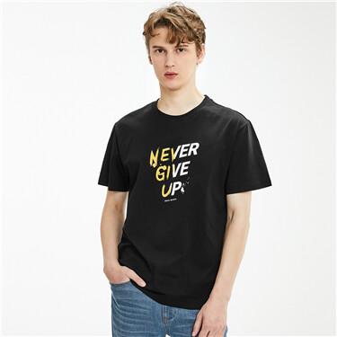纯棉个性字母印花圆领短袖T恤