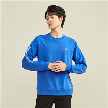 Printed crewneck long-sleeve sweatshirt