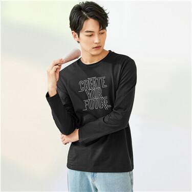 纯棉字母标语印花圆领长袖T恤