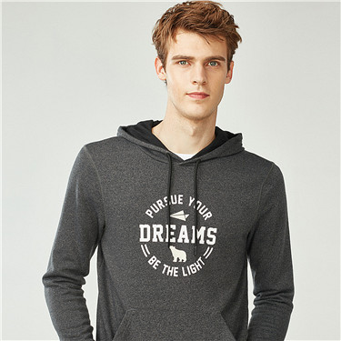 PURSUE YOUR DREAMS printed hooded pullover