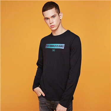 Pattern crewneck long-sleeve tee