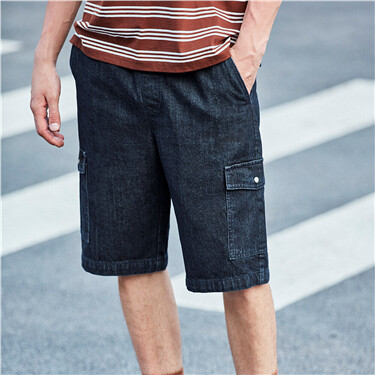 Elastic waistband cargo thin shorts