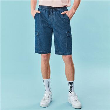 松紧腰头工装薄牛仔短裤