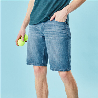 Moustache effect denim shorts