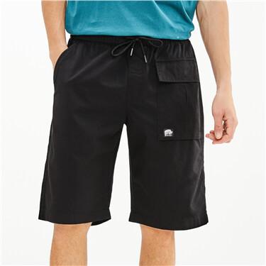 Cargo pockets elastic waistband shorts