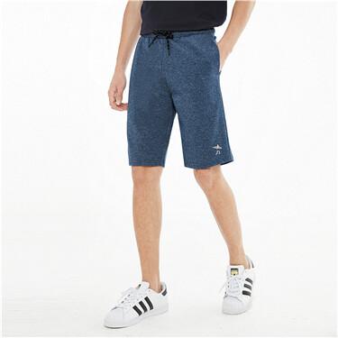 Embroidery interlock elastic waist shorts