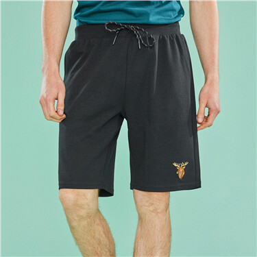 Embroidered deer drawstring casual shorts